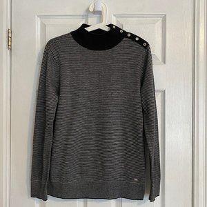 Tommy Hilfiger Grey Striped Mock Neck Sweater